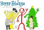 Cartoon about Christmas, Hanukkah and the New Year in Sarasota